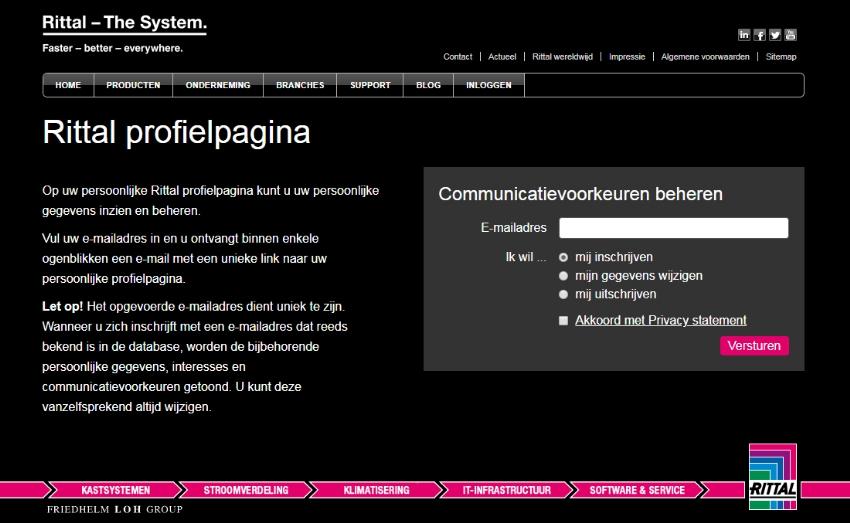 Rittal mijnProfiel: platform voor opt-in beheer