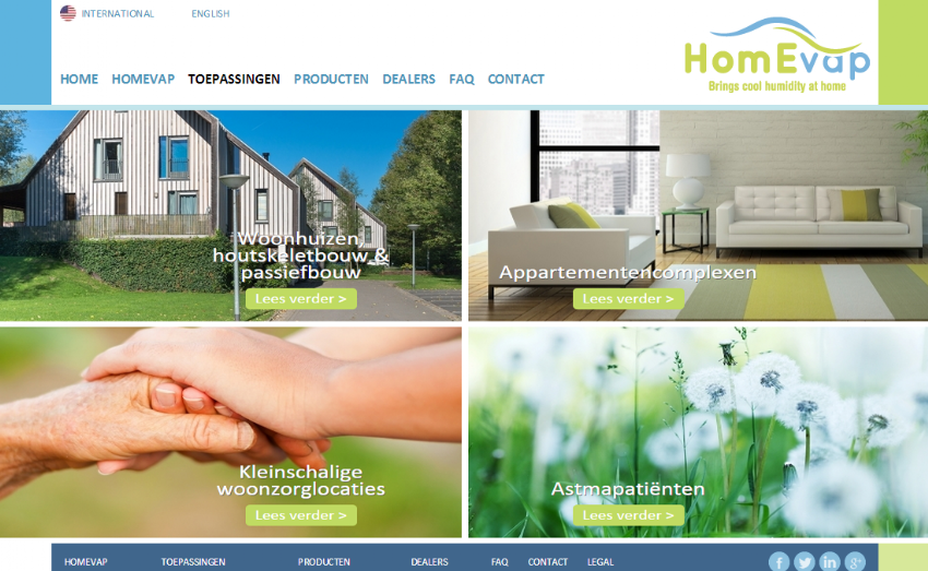 Internationale website voor HomEvap