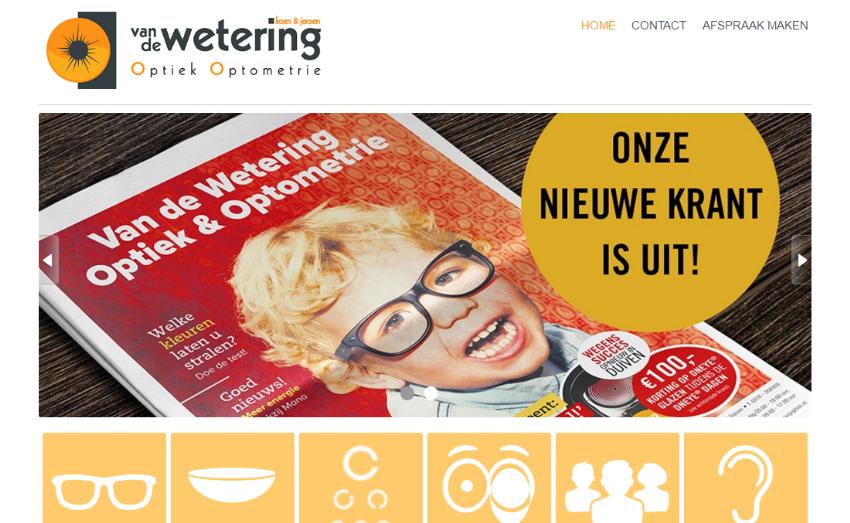 Nieuwe website voor Van de Wetering Optiek & Optometrie