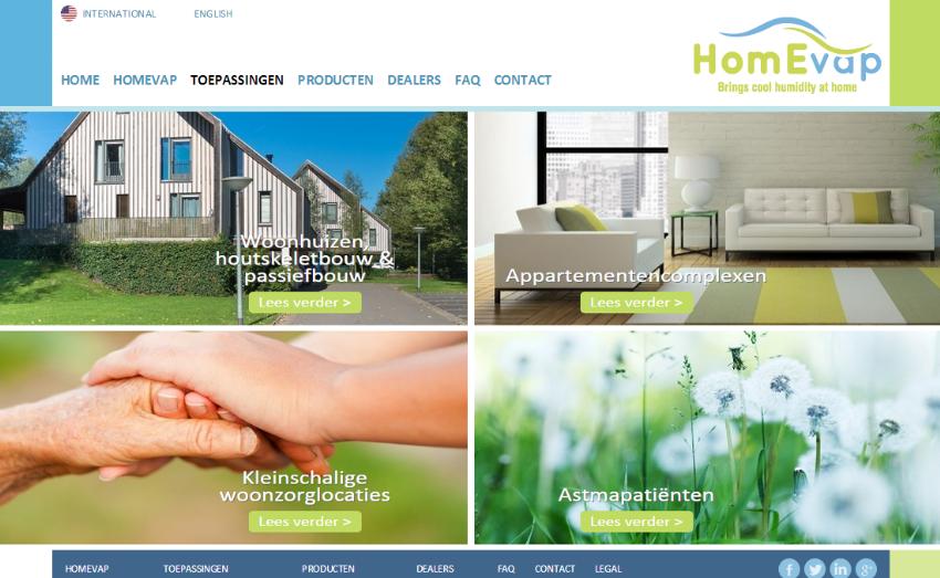 Internationale website voor HomEvap